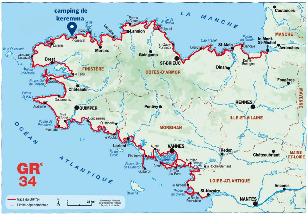 carte du chemin de randonnée GR 34 avec le camping de Keremma